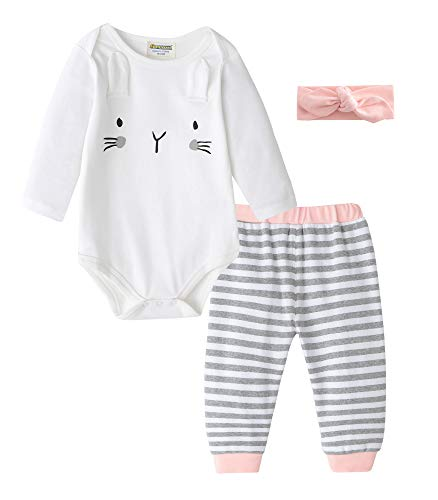 (Fiream Baby Girls Cotton pink Easter Bunny Bodysuits Longsleeve Stripe Clothing)