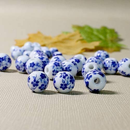 Beads Chinese Blue White Porcelain Beads 8mm