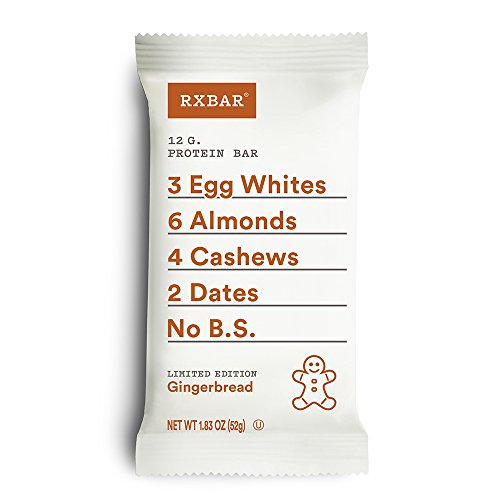 RXBAR Real Food Protein Bar, Gingerbread, Gluten Free, 1.83oz Bars, 12 Count
