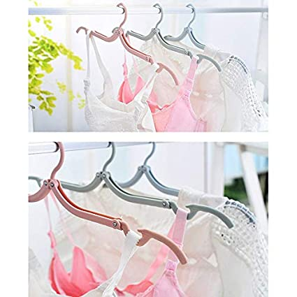 NHW 10PCS Portable Folding Clothes Hangers Retractable Plastic Non Slip Clothing Hangers for Kids and Adults
