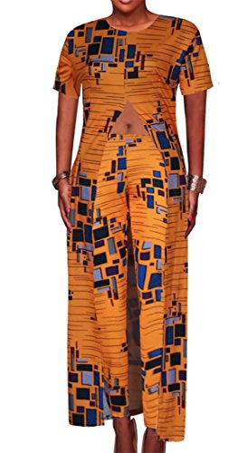 Conffetti Women High Slit Africa Trousers Short Sleeve 2 Piece Set Tops Printed Jumpsuits Orange2 XL by Conffetti