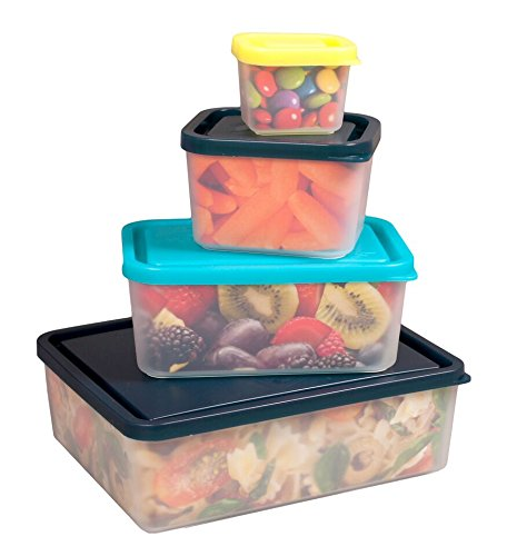 Bentology Leakproof Lunch Containers - No BPA & USA Made - Portion Control Set of 4 (Beach)