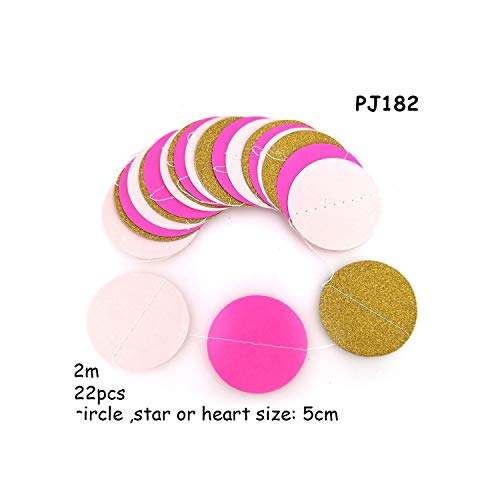 2M*5CM Pink Black Silver Glitter Paper Garland Circle Baby Shower Party Sequins Vintage Flag Banners Christmas Home Decoration,PJ182 paper garland ()