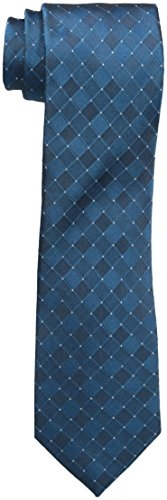 Blue Silk Tonal Tie (Kenneth Cole Reaction Men's Tonal Grid Tie, Teal, One)