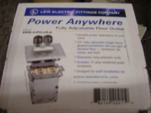 Lew Electric SWB-4-PQ-LR-A Floor Box, Flip Lid Quad Box w/Duplex Receptacle & 4 Communications/Data Ports - Aluminum by Lew Electric