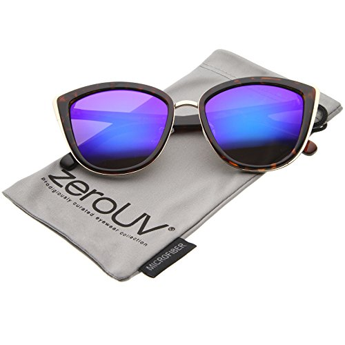 zeroUV - High Fashion Metal Outer Frame Color Mirror Lens Oversized Cat Eye Sunglasses 55mm (Tortoise-Gold / Purple - Tortoise Color