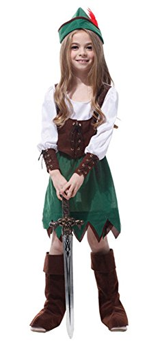 Child Deluxe Peter Pan Costumes (Halloween Costumes Princess Skirt Peter Performance Clothing Girl Green Brown (Medium))