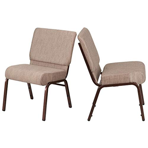 - Contemporary Design Commercial Grade Banquet Chair Durable Fabric Upholster Sturdy 16 Gauge Steel Frame Thick Waterfall Edge Seat Home Office Furniture - Set of 4 Beige Fabric/Copper Vein Frame #2036
