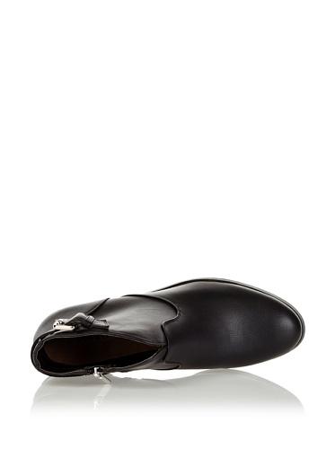 RAXMAX Damen Stiefelette Ankle Boots Schwarz Schnalle Reißverschluss Schwarz