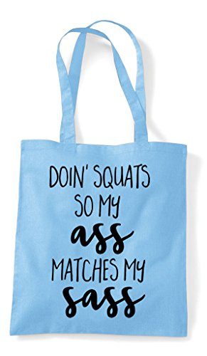 Matches My Ass Squats So Blue Doing Sky Shopper Bag Sass Workout Statement Tote OwI1qBnR