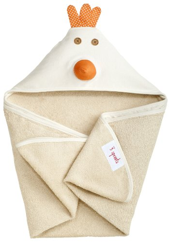 3 Sprouts Hooded Towel, Chicken, Cream by 3 Sprouts