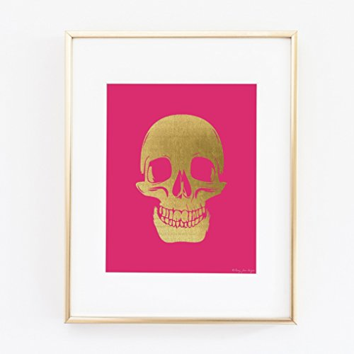 Gold Skull Art Print, Gold Skull with Hot Pink Background, Skull Art Print, Skull Art, Skull Wall Decor, Skull Girl Art, Halloween Skull Art, Home Wall Decor, Office Wall (Halloween Skulls Background)