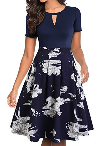 YATHON Dress for Women Casual Party Navy White Floral Patchwork Pockets Quality Knee Length O Neck Meeting Office Work Vintage Dress for Church (XL, YT018-Navy Floral 02)