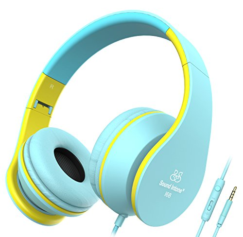 Headphones, Sound Intone Foldable Headphones with Microphone and Volume Control, On-ear Wired Headset for iphone and Android Devices (Blue/yellow)