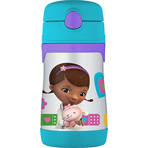 THERMOS Vacuum Insulated Stainless Steel 10-Ounce Straw Bottle, Doc McStuffins]()