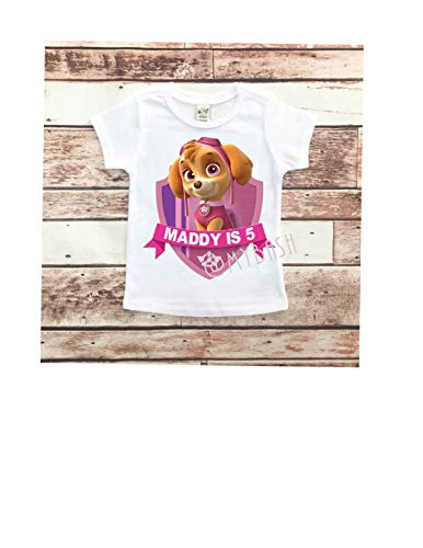 Personalize Paw Pink Theme Birthday Shirt - Birthday Girl Outfit -