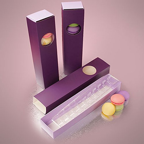 Large Premium Candy or Macaron Box Set - Holds 12 Cookies - Box Sleeve and Tray -10 Complete Sets