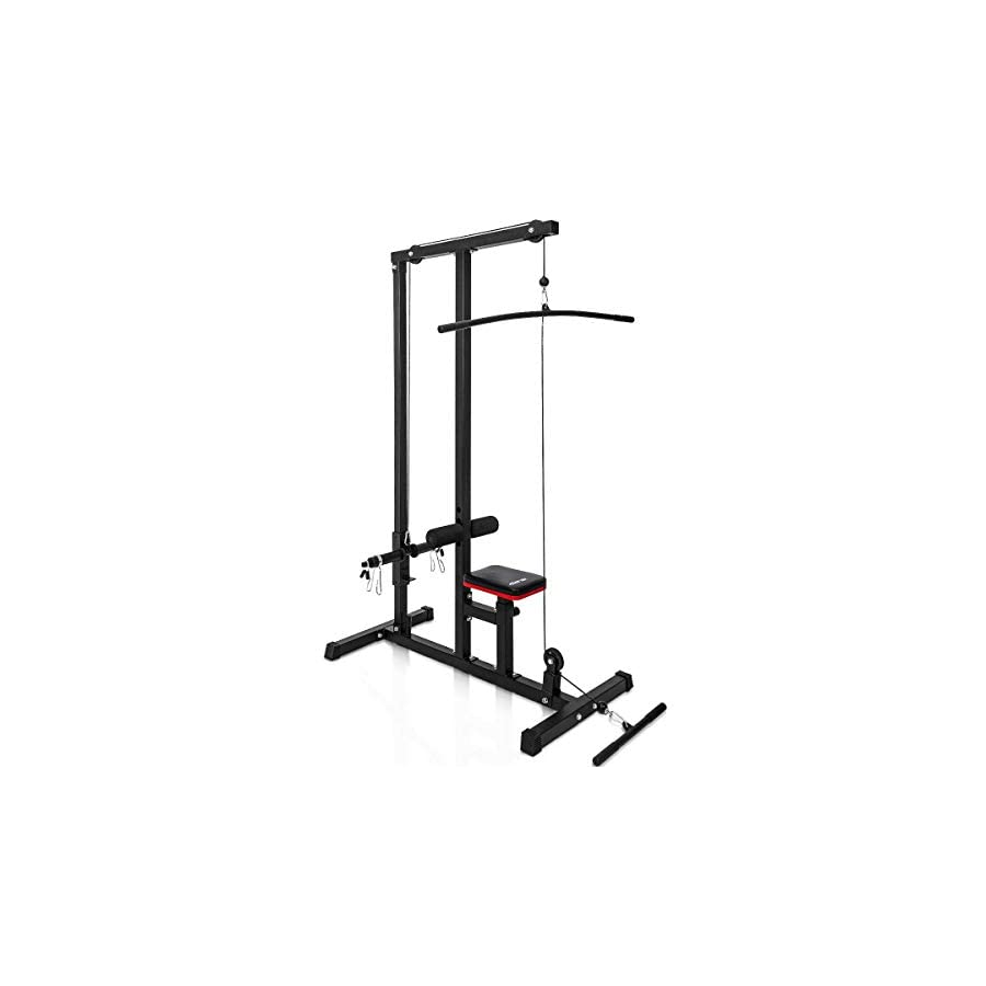 Merax Wall Mount Cable Station with Adjustable Dual Pulley System Pull Down Fitness Station