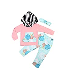 Baby Girl Hoodie Pants Set—Cute Pink Hoodies with Floral Pocket + Flower Print Pants + Headband 3pcs Set Outfit Clothes