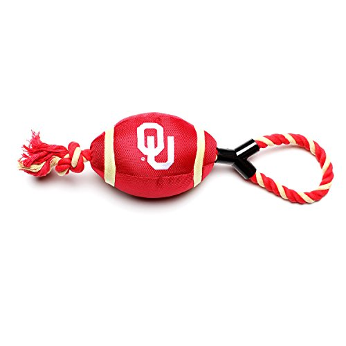 Pet Goods Oklahoma Sooners Football with Rope Toy