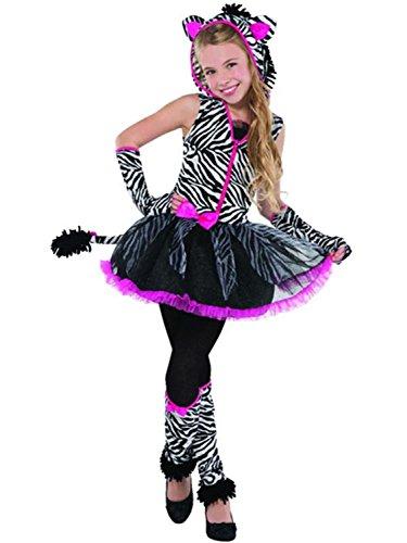 Older Girls Teens Sassy Stripes Pink Black White Zebra Animal Dance Carnival Halloween Fancy Dress Costume (8-10 -