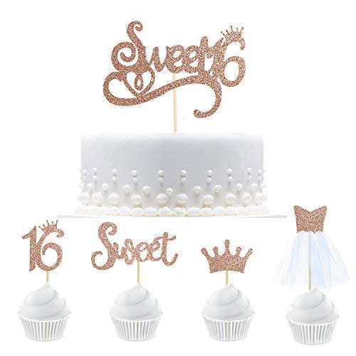 33 Rose Gold Glitter Sweet Sixteen Birthday Party Decorations Sweet Sixteen Cupcake Topper Kit With Figure 16,Crown,Sweet,3D Tulle Dress Cupcake Toppers for Sweet Sixteen Birthday Party Decorations