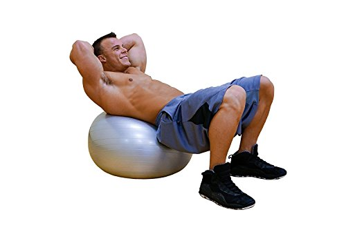 DYNAPRO Exercise Ball - 2,000 lbs Stability Ball - Professional Grade – Anti Burst Exercise Equipment for Home, Balance, Gym, Core Strength, Yoga, Fitness, Desk Chairs (Silver, 45 Centimeters) by DYNAPRO (Image #4)