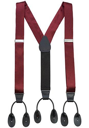 Hold'Em 100% Silk Suspenders Men Y-Back Fancy Solid Button End-Burgundy XL