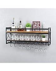 "MBQQ Wine Rack Stemware Glass Rack,Industrial 2-Tier Wood Shelf,36"" Wall Mounted Wine Racks with 9 Glass Holder for Wine Glasses,Mugs,Home Decor,Black"