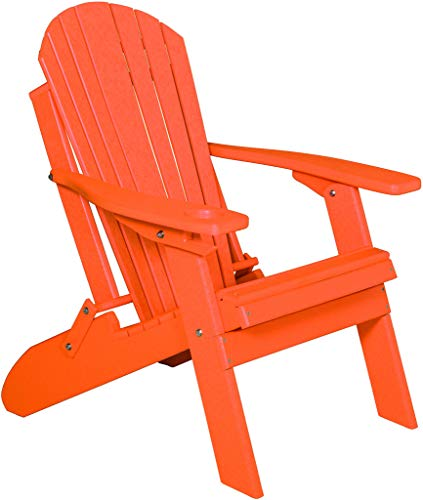 Deluxe Premium Folding Adirondack Chair w/Cup Holder - Poly Lumber - Orange ()