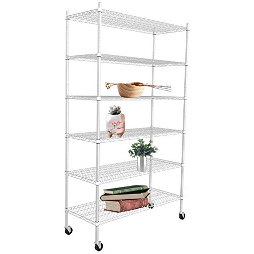 SUNCOO Strengthen 6 Tier Wire Shelving Commercial Storage Shelves Adjustable Shelf Unit with Wheels Wire Shelves Metal Organizer Wire Racks Kitchen Garage 46