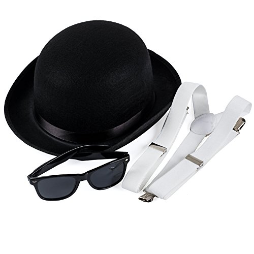 Black Derby Costume Bundle With Suspenders & Retro Sunglasses Funny Party Hats -