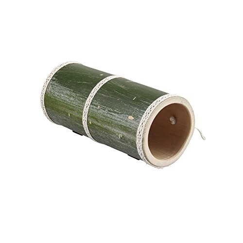 Stock Show 9.4'' Small Pet Tubes and Tunnels Summer Cool Natural Bamboo Tubes Toys Bed Hideout Hut for Hamster Guinea Pig Chinchilla Gerbil Rat Lizard or Other Small Animals