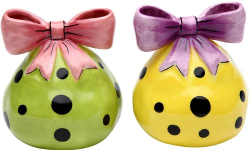 Appletree Design Yellow and Green Dots Salt and Pepper Set, -