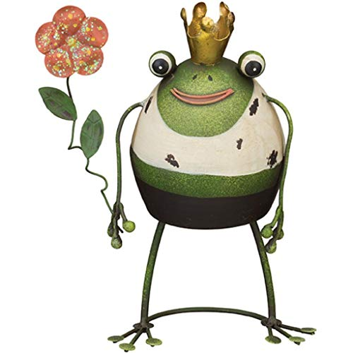 Regal Art & Gift 4.5 Inches x 3.5 Inches x 6.75 Inches Rustic Frog Decor Prince Flower