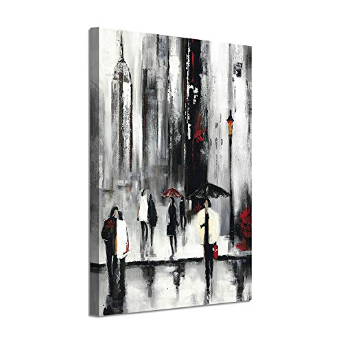- Cityscape Scene Picture Wall Art: Abstract NYC Street Rainy Days Silver Foil Painting on Canvas