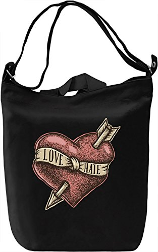 Love hate Borsa Giornaliera Canvas Canvas Day Bag| 100% Premium Cotton Canvas| DTG Printing|