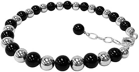 Multi Strand Bracelet Oval Black Onyx Vintage Sterling Silver Onyx Bracelet Weight 6.9 Grams Boho # 2267