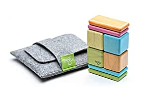 Tegu 8 Piece Pocket Pouch Magnetic Wooden Block Set, Tints