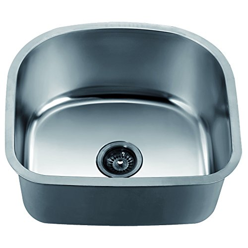 Crescent Mount Board - Dawn ASU105 Undermount Crescent Single Bowl Sink, Polished Satin