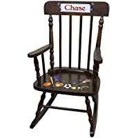 Personalized Espresso Sports Rocking Chair