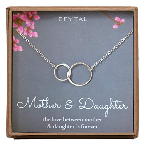 EFYTAL Mother Daughter Necklace - Sterling Silver Two Interlocking Infinity Double Circles, Mothers Day Jewelry Birthday Gift -