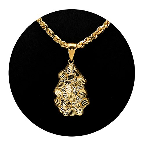 Nugget Chain (LoveBling 10K Yellow Gold Diamond Cut Nugget Charm Pendant (2.05