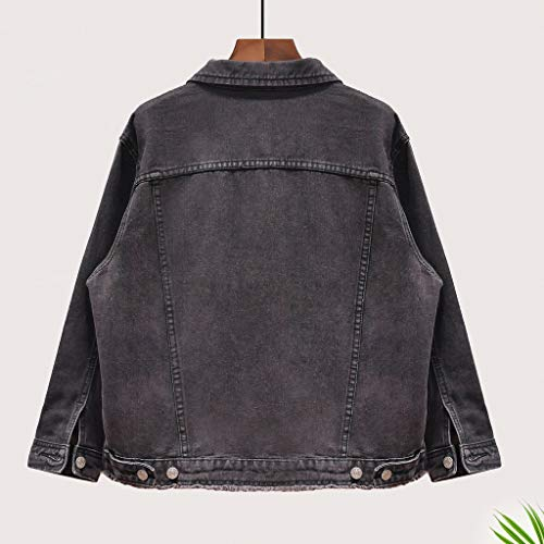 Nero Boyfriend Jacket Denim L A Donna Giacca Da Dimensioni colore Maniche Lunghe Fashion Black Nero In 87vSqv
