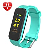 Fitness Tracker --- InChor HR2 Activity Tracker, with TouchScreen/ Step/ Calorie Counter, Health/ Sleep Monitor, Wristband Smart Sports Band Watch for iPhone & Android Phones (Cyan)