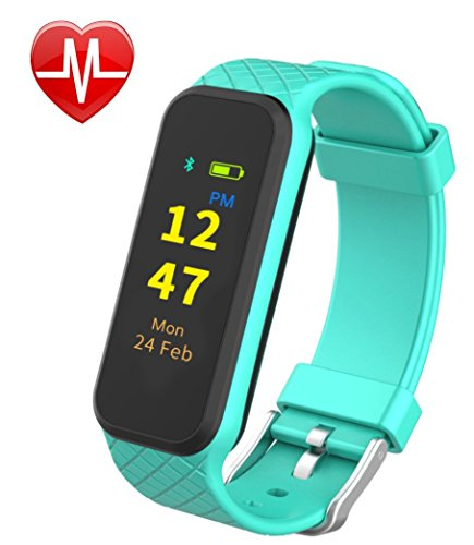 InChor HR2 Fitness Tracker, Activity Tracker Wristband Smart Sports Band Watch with Touch Screen Step Calorie Counter Health Sleep Monitor for iPhone Android Phones (Cyan)