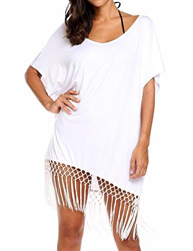 Lonlier Damen Strandponcho Sommer kurze Bat Ärmel Strandkleid Bikini Cover Up Quaste Saum lose elastische Lässige Tops Weiß