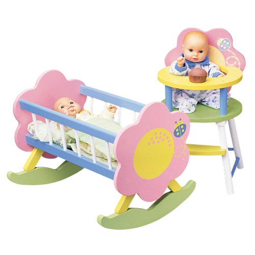 My Doll Wooden Furniture Includes Cradle and High Chair, Baby & Kids Zone