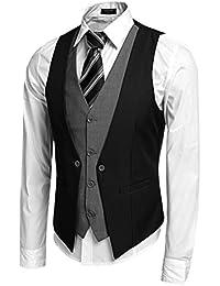 Coofandy Men's V-Neck Sleeveless Slim Fit Jacket Business Suit Vests