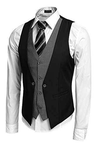 Coofandy Men's V-neck Sleeveless Slim Fit Jacket Business Suit Vests,Black,Small